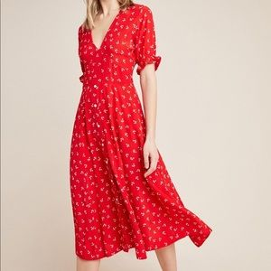Faithfull Jeanne Red Printed Midi Dress Size Small